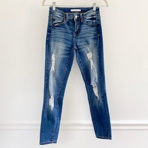 KanCan Distressed Midrise Skinny Ankle Jeans